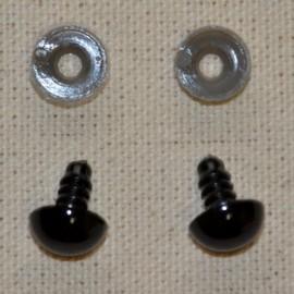 10 ojos de seguridad para amigurumis, 12mm – negro