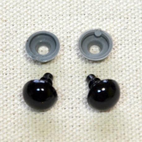 10 ojos de seguridad para amigurumis, 10mm - negro