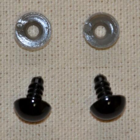 10 ojos de seguridad para amigurumis, 12mm - negro