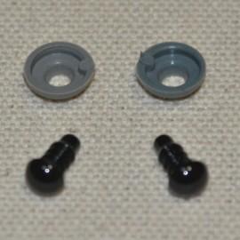 10 ojos de seguridad para amigurumis, 6mm - negro