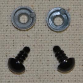 10 ojos de seguridad para amigurumis, 8mm - negro