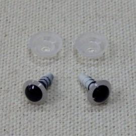 10 ojos de seguridad para amigurumis, 8mm - blanco y negro