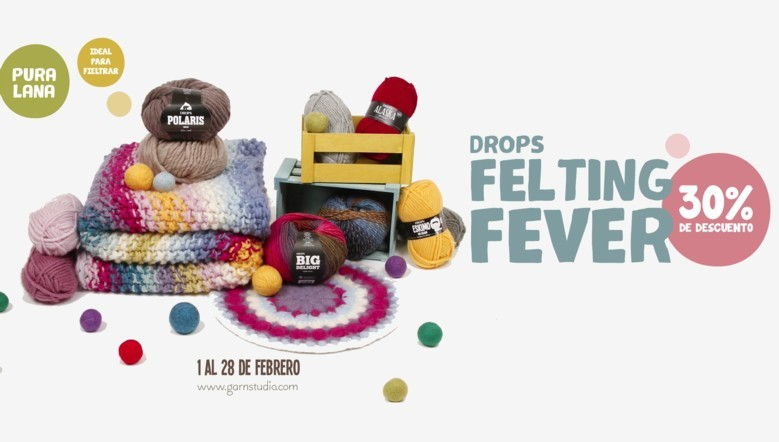 DROPS Felting Fever: 30% de descuento en lanas fieltrables